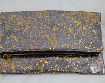 Silver glitter fabric clutch gold splash