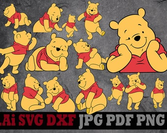 Winnie the Pooh svg, Winnie the Pooh clipart, Disney svg files silhouette digital files svg dxf png Ai pdf svg files for cricut