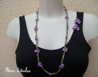 Textile necklace MULTISTRAND + earrings