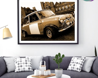 Mini Cooper Classic Sepia Tone Design - SIDE View - Art Print- Mini Cooper - Classic Mini Car - Austin Mini Cooper