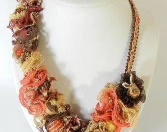 "Designer necklace ""Jada"", model unique, lace, Ribbon, handmade"