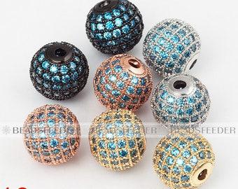 2/10pcs Shamballa round ball bead Micro Pave Bead,Aqua Cubic Zirconia CZ beads,Women Bracelet Charms,6mm/8mm/10mm/12mm/14mm/16mm
