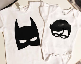 Matching batman & robin sibling shirts or bodysuits