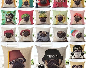 PUG Life 18'' decoration cushions made of cotton and linen top quality!