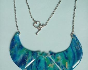 Bib necklace style Mokume Gane