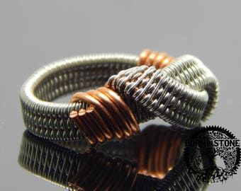 Wire wrapped ring Copper silver ring Mens ring Womens ring Husband gift Steampunk ring Wire wrap ring Infinity ring Magic ring Best gift