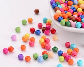 50 pc Mixed Solid Color Round Acrylic Beads 4mm
