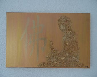 Acrylic painting zen colors gold and bronze