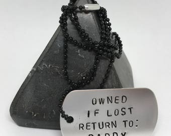 If lost return to Daddy, necklace, dog tag necklace, ddlg necklace, ddlg jewellery, daddy dom, owned, bdsm owned, gift for daddy, bdsm gifts