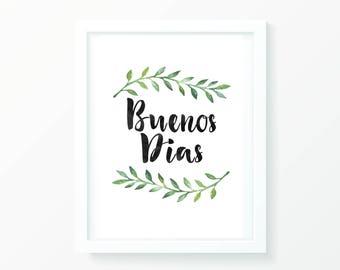 Bueno Dias Spanish wall print, wall art, digital print, typography art, poster, home decor, minimalist print, artwork, digital artwork