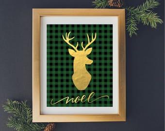 Christmas Printable Art, Winter Printable Art, Holiday Art, Noel, Christmas Home Decor, Winter Home Decor, Green Buffalo Plaid, Gold, Deer