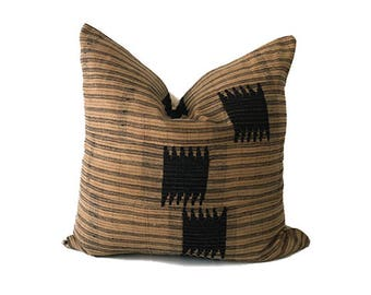 Afe - Brown and Black Striped Vintage African Cloth Aso-Oke Pillow, High Quality Italian Linen Back Fabric, Mud Cloth Style