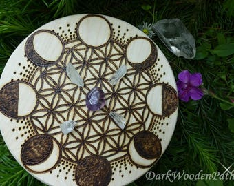 Crystal Grid ~ flower of life ~ with phases of the Moon