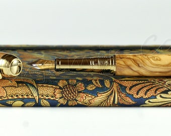 Hand Made Engravable & Customisable Olive Wood Fountain Pen - Bock 23K gold plated #5 Nib