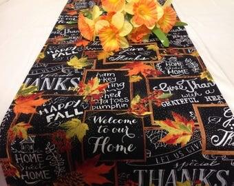 Black with Orange Autumn Flowers, Thanksgiving, Fall Tablerunner Dining room Tablerunner Kitchen Foyer Dresser Tablerunner Nook, Buffet,