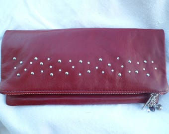 Genuine leather, red evening bag
