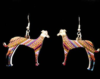 Greyhound / Whippet Colourful Drop Dangle Earrings Boho Sighthound Jewellery Gift