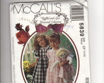 McCalls 5839- sewing pattern: kids dress, Pantaloon and doll's dress, Ruffles and Lace treasured collection, uncut, ff, size 4 5 6, vintage