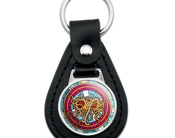 Flying Spaghetti Monster Stained Glass Black Leather Keychain