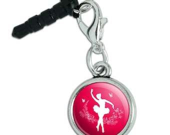 Ballerina Silhouette with Butterflies Mobile Cell Phone Headphone Jack Anti-Dust Charm fits iPhone iPod Galaxy