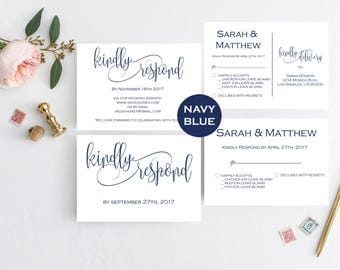 Navy Wedding RSVP Template -RSVP Postcard Template - Printable Wedding Postcard RSVP - Editable Text - Downloadable wedding #WDH812321