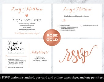Wedding rsvp postcard - Rose gold rsvp - rsvp cards - rsvp online - Rose Gold Wedding - rsvp enclosure - Downloadable wedding #WDH812275