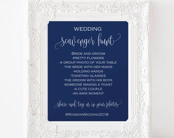 Wedding Scavenger Hunt Instant - Navy Wedding - Scavenger Hunt - Bridal scavenger - Navy Wedding - Downloadable wedding #WDH878PL901
