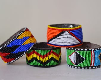African Maasai beaded cuff bracelet  | Tribal bracelet | African jewelry | Press buttons fastening | Gift for Her | Gift for Him