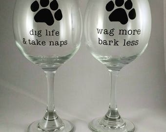 Dog Lover Wine Glass, Paw Wine Glass, Animal Lover Wine Glass, Animal Lover Gift