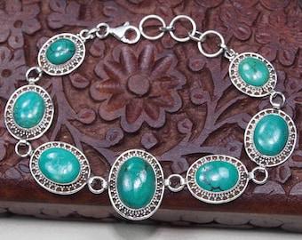 Turquoise Bracelet Sterling Silver Bracelet,Gemstone Bracelet ,Genuine Turquoise Jewelry-Crystal  Turquoise silver retro bracelet Gift S1152