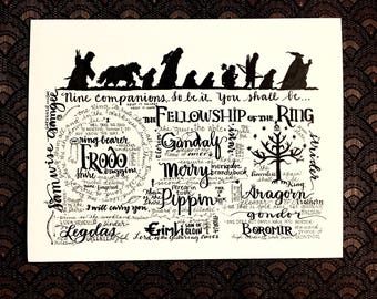 Fellowship of the Ring J.R.R.Tolkien LOTR Lord of the Rings art print wall art hand-lettered Gandalf Frodo Legolas Geekery decor Hobbit