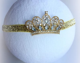 Newborn Tiara Headband| Baby Girl Crown Headband| Glitter Gold Birthday Crown| 1st Birthday Headband| Newborn Photo Prop