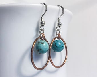 Hammered copper hoops with turquoise bead and sterling silver ear wires rustic minimalist jewellery