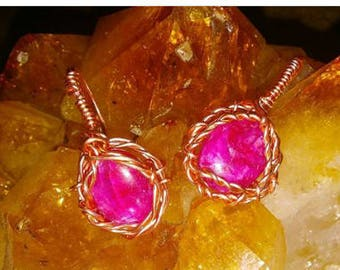copper ruby earrings