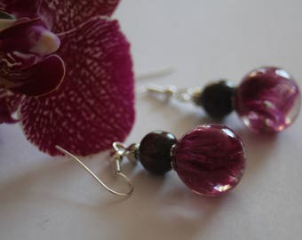 Purple Celosia Flower Resin Orb Dangles Wood bead Silver Earrings Handmade Jewellery nolaOrchid