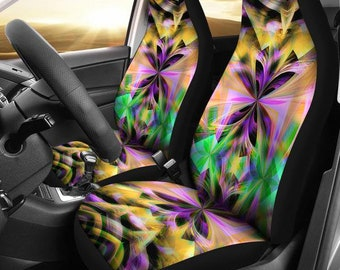 Neon/Abstract/Kaleidoscope/Multi Color/Car Seat Covers/Auto Seat Covers/SUV Seat Covers/Truck Seat Covers