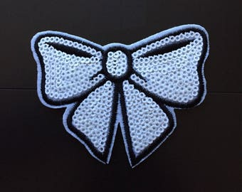 Sequins Bow iron/sewn on Embroidered patch