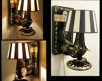One of a Kind | Design Object | Lewenstein Dürkopp | Antique Sewing Machine | Germany 1920's | Wall Lamp Lighting | Unique Handmade