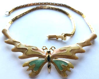 Vintage 1970s Enamel Butterfly Necklace