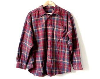 90s Izod Flannel Button Down Shirt - 90s Flannel - Vintage Flannel - Vintage Izod - Red Flannel - Men's XL