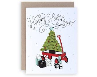 Happy Holidays - Letterpress Holiday Greeting Card
