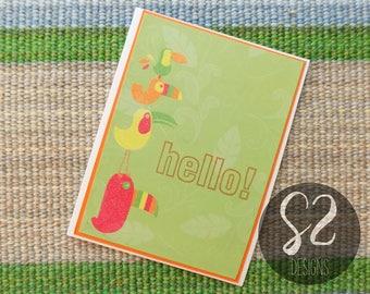 Handmade Tropical Bird Hello Card