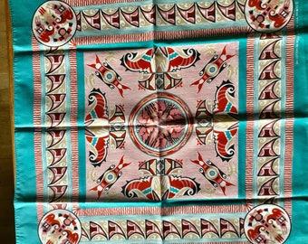 Vintage blue azrec design bandana, Made in USA, craft with pride in America, cotton polyester mix, neckerchief, scarf, dig bandana