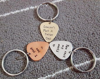 Personalized Guitar Pick Key Chain, Couldn't Pick A Better Dad Key Chain, Father's Day gift, You Rock My World Guitar Pick, I Pick You