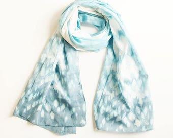 Bandhani Cotton Scarf - Spring Blue/White