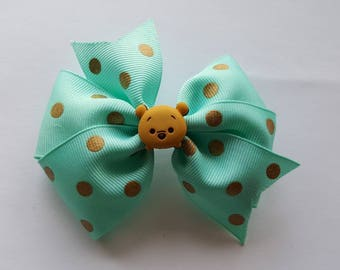 Winnie the pooh turquoise bow clip with gold polkadots