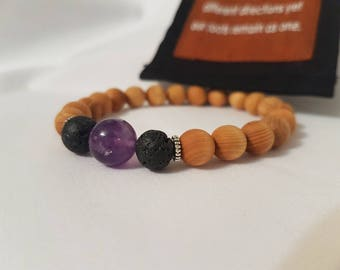 Diffuser Bracelet with  Sandalwood and Amethyst