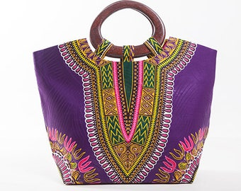 Purple wax print dashiki Kingsize bag