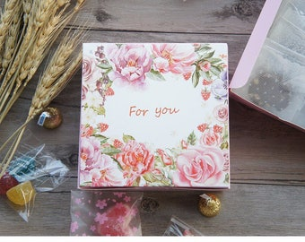 10pcs pink rose for you design Paper Box for Cheese candy Cookie valentine gift Packaging 13.5*13.5*5cm