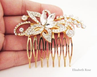 Small Gold Crystal Wedding Hair Comb, Gold Hair Jewellery for Bride, Floral Hair Comb, Small Gold Hair Comb
